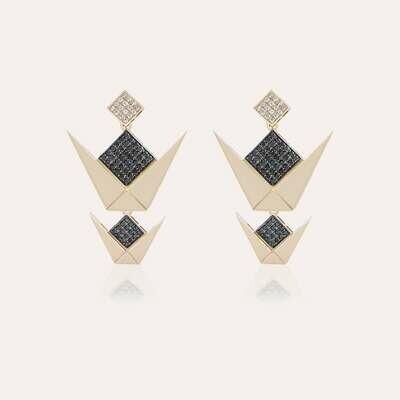 Emblem Earrings Gold With Black & White Diamond