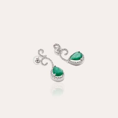 Classic Gold Earrings Diamond With Emerald