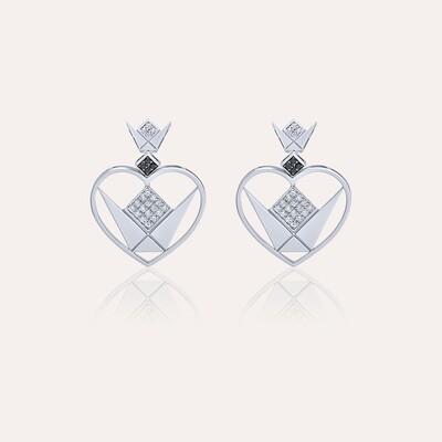 Love Earrings Heart White Gold With Diamond