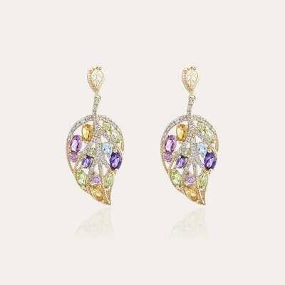 Leaves Earrings Gold & Semi Precious