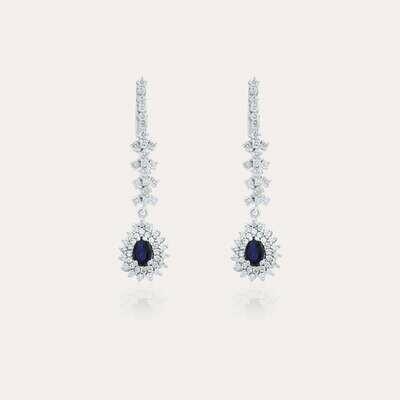 Bridal Earrings Diamond & Sapphire