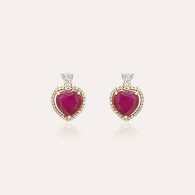 Classic Earrings Heart Ruby & Diamond
