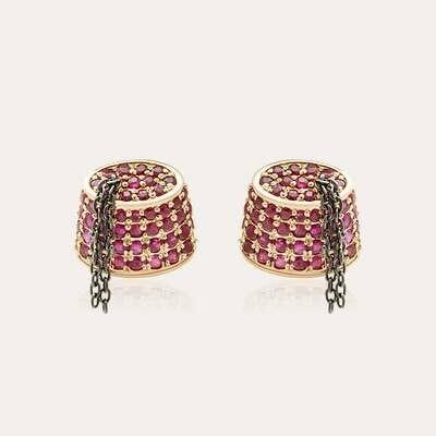 Tarboush Earrings Gold & Ruby