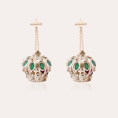 Crown Gold Semi Precious Earrings