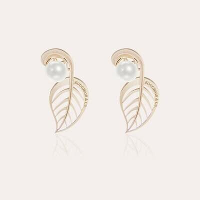 Leaves Earrings Gold & Pearl