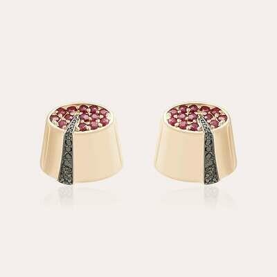 Tarboush Gold Earrings Black Diamond & Ruby