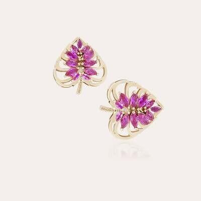 Leaves Gold Earrings & Semi Precious