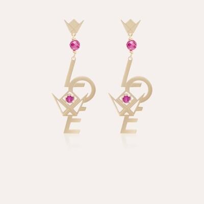 Love Earrings Gold & Semi Precious
