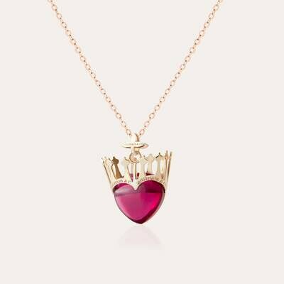 Crown Heart Gold Pendant & Semi Precious