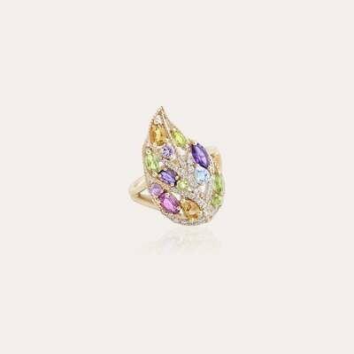 Leaves Ring Diamond Sapphire & Semi Precious