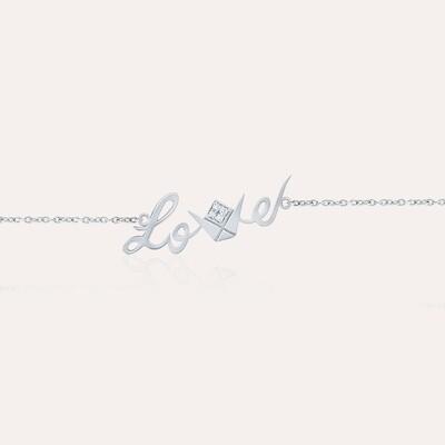 Love White Gold Chain Bracelet With Diamonds