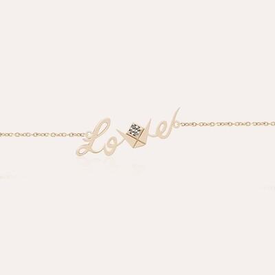 Love Gold Chain Bracelet & Black Diamonds