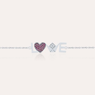 Love White Gold Chain Bracelet With Ruby