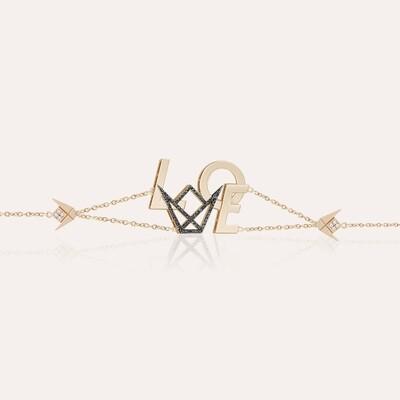 Love Emblem Bracelet Gold & Black Diamonds
