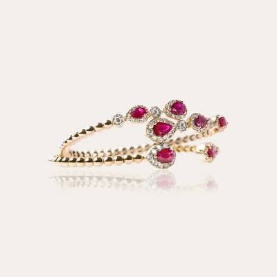 Bridal Bangle Gold With Ruby & Diamonds