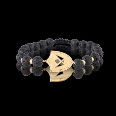 Spartan Bracelet Gold & Lava Stones