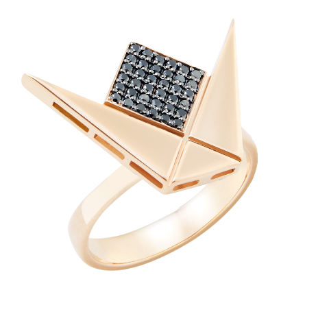 Emblem Ring Gold & Black Diamond