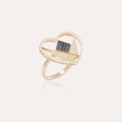 Emblem Ring Gold Heart & Black Diamond
