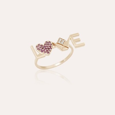 Love Ring Gold with Diamond & Ruby