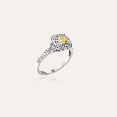 Classic Ring White Gold Diamond & Fancy