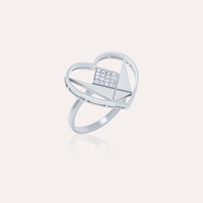 Love Ring White Gold Heart & Diamond