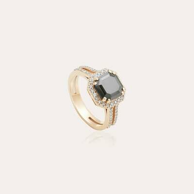 Classic Ring Gold with White & Black Diamond
