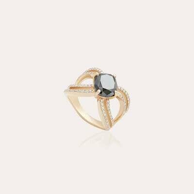 Classic Ring Gold Black & White Diamond