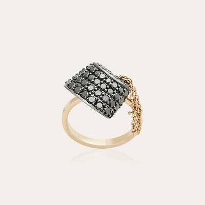 Tarboush Ring Gold & Black Diamond