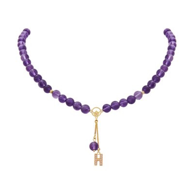 Pendant Gold Diamond Initial with Amethyst