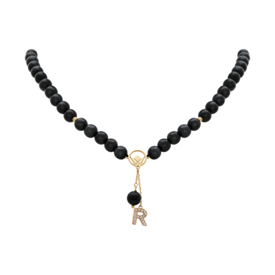 Pendant Gold Diamond Initial with Black Stones