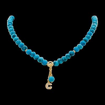 Pendant Gold Diamond Initial with Imitation Turquoise