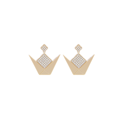 Emblem Gold Earrings With White Diamond