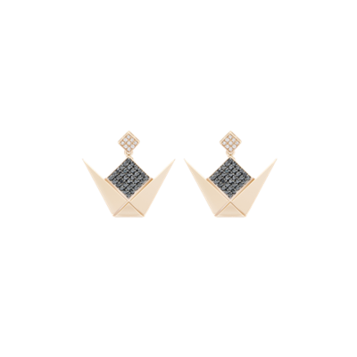 Emblem Earrings Gold Black & White Diamond