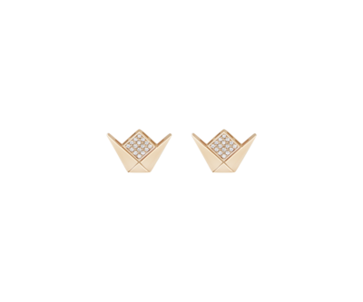Gold Emblem Earrings With Diamond