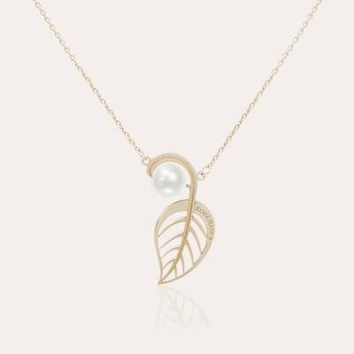 Leaves Pendant Gold with Pearl