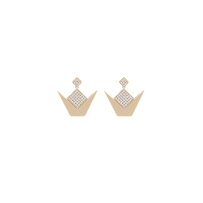 Emblem Gold Earrings & White Diamonds
