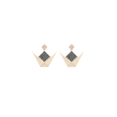 Emblem Gold Earrings Black & White Diamonds