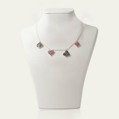 Gold Necklace with Fancy Diamond and Ruby