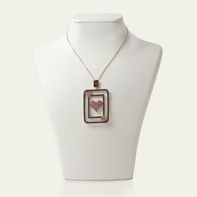 Fortune Card Gold Necklace with Ruby Fancy Diamond