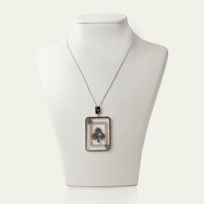 Fortune Card Necklace with Black and Fancy Diamond