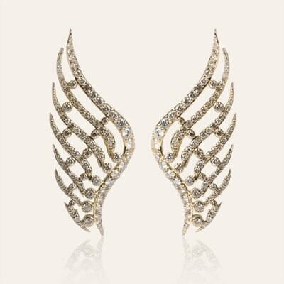 Wings Gold Earrings with White Diamond