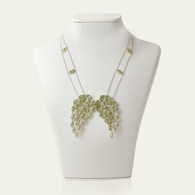 Wings Gold Diamond Necklace with Semi Precious