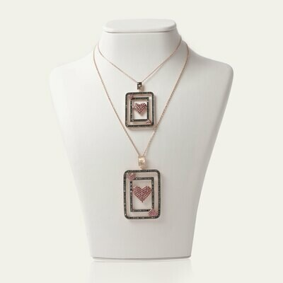 Fortune Card Necklace with Ruby Fancy Diamond