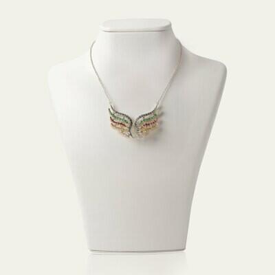 Wings Diamond Necklace with Semi Precious Stones