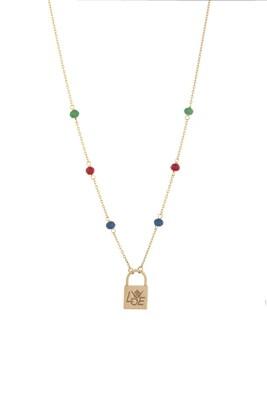 Love Gold Lock with Semi Precious