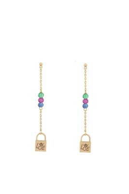 Gold Lock Earrings with Semi Precious