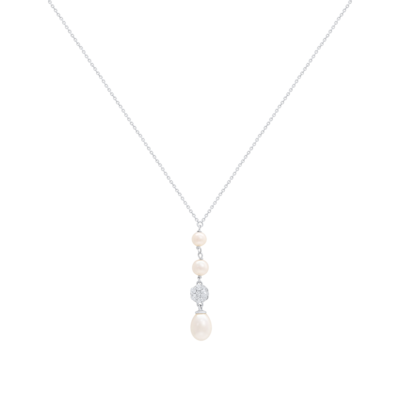 Diamond Gold Necklace with Pearl
