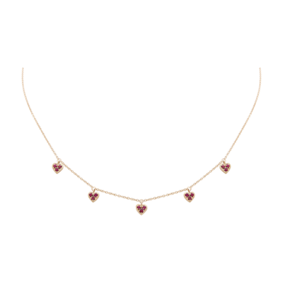 Hearts Gold Necklace with Ruby