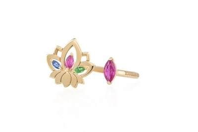 Lotus Gold Ring With Semi Precious