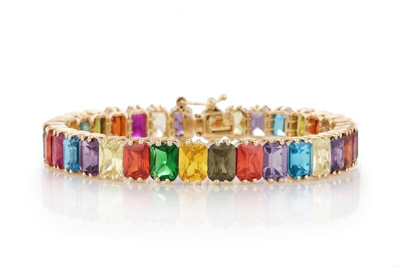 Multicolor Gold Bracelet with Semi Precious